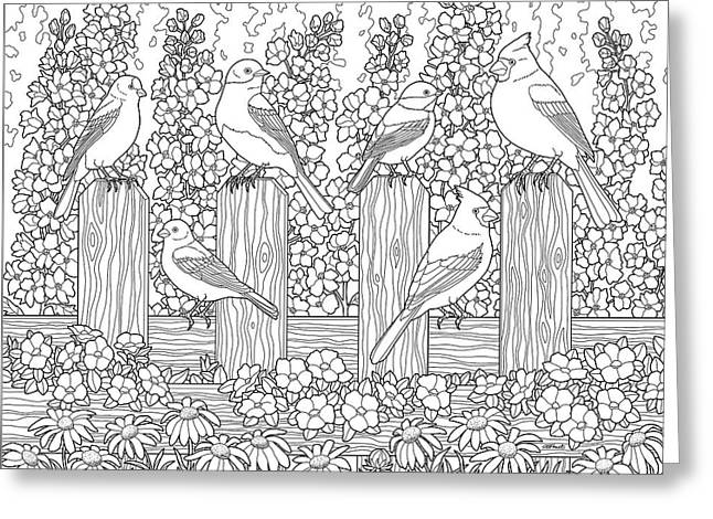 birds in flower garden coloring page greeting card by crista forest