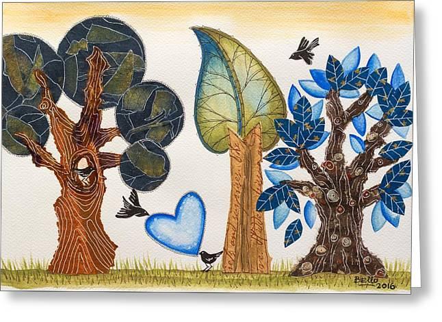 Birds In Love Greeting Card by Graciela Bello