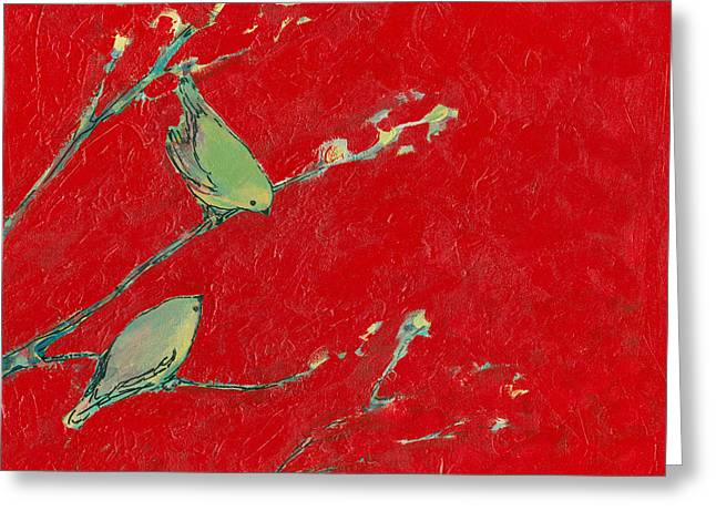 Birds In Red Greeting Card by Jennifer Lommers