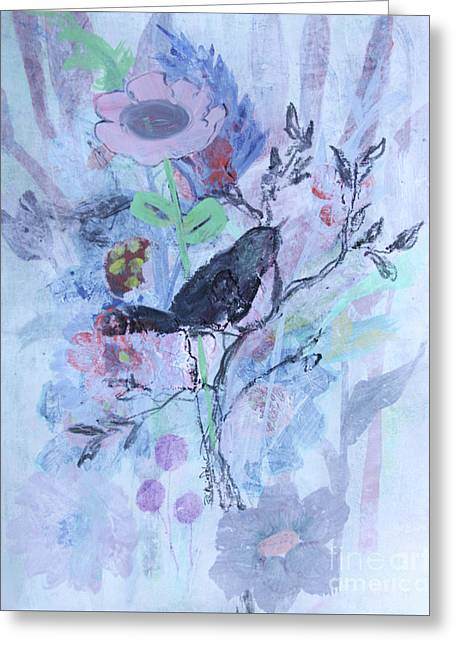 Greeting Card featuring the painting Birds Just Wanna Have Fun by Robin Maria Pedrero