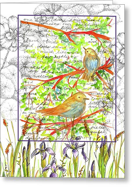 Greeting Card featuring the painting Bluebirds Nature Collage by Cathie Richardson