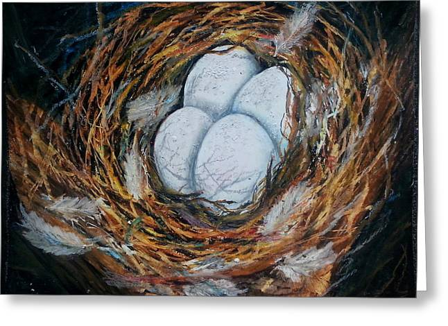 Birds Nest Greeting Card by MadhuRavi Paintings