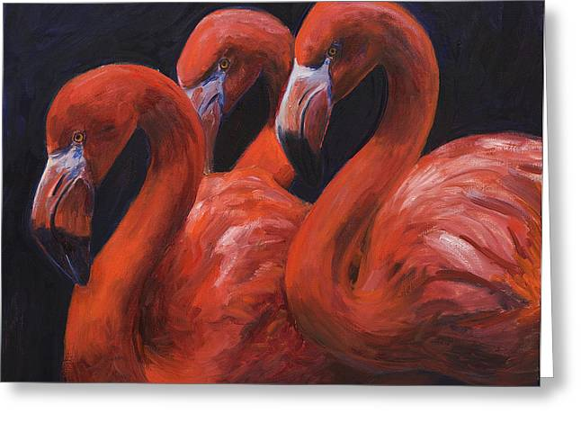 Flamingo Art Greeting Cards - Birds of a Feather Greeting Card by Billie Colson