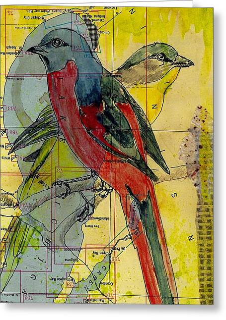 Greeting Card featuring the mixed media Birds On A Map by Jillian Goldberg