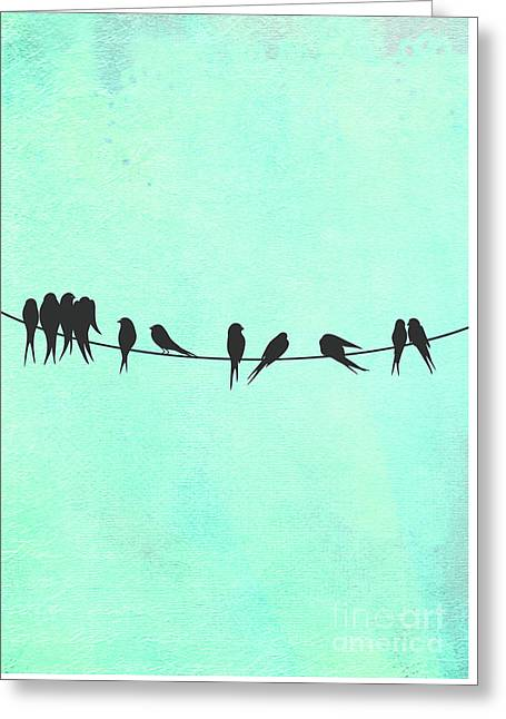 Birds On A Wire Silhouette Happy Birdies Greeting Card by Tina Lavoie