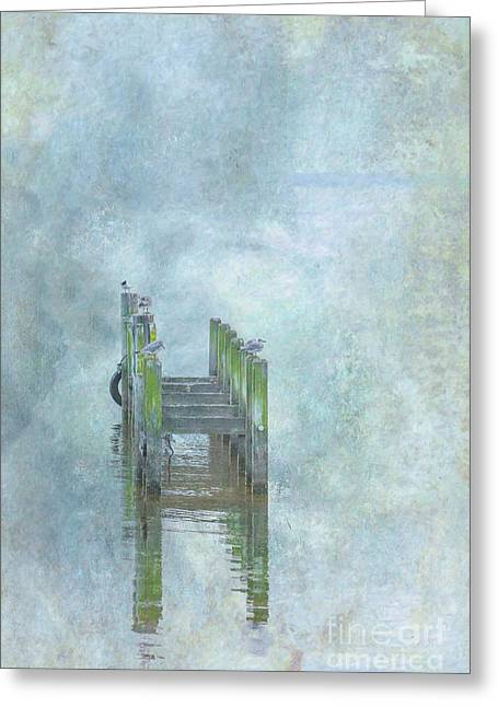 Greeting Card featuring the digital art Birds On Abandoned Dock by Randy Steele