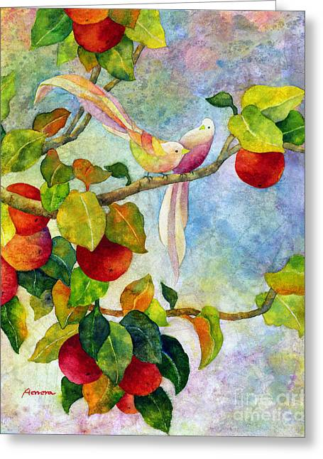 Birds On Apple Tree Greeting Card by Hailey E Herrera