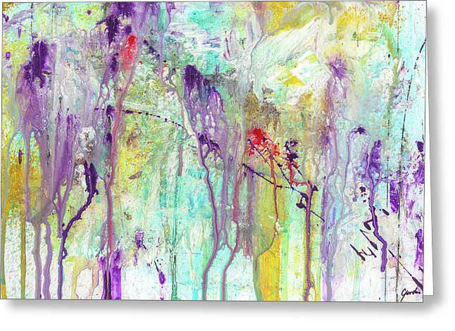 Birds On The Wire - Colorful Bright Modern Abstract Art Painting Greeting Card