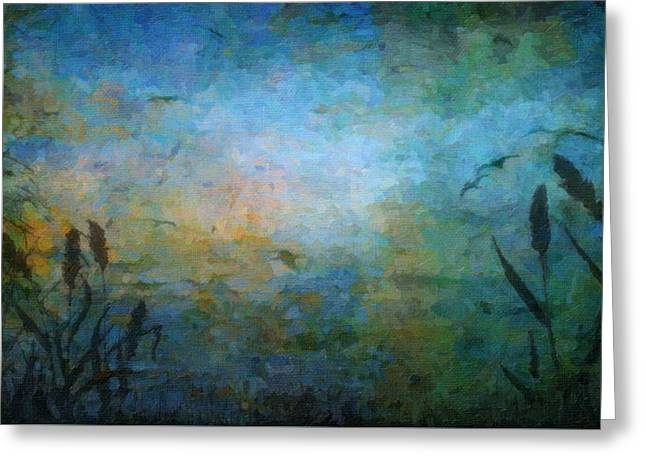 Birds Over The Lake Greeting Card by Kathie Miller