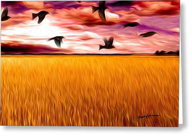 Birds Over Wheat Field Greeting Card