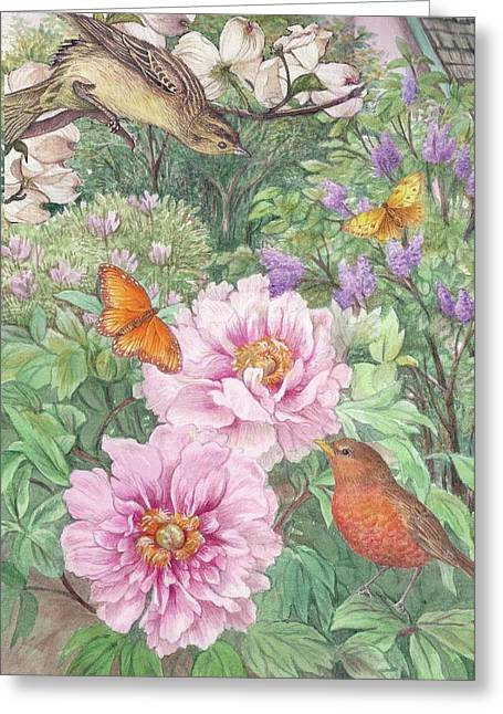 Greeting Card featuring the painting Birds Peony Garden Illustration by Judith Cheng