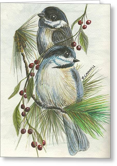 Birds Two And Fir Tree Greeting Card