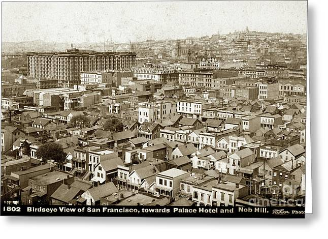 Birdseye View Of San Francisco, Towards Plalce Hotel And Nob Hill 1880 Greeting Card