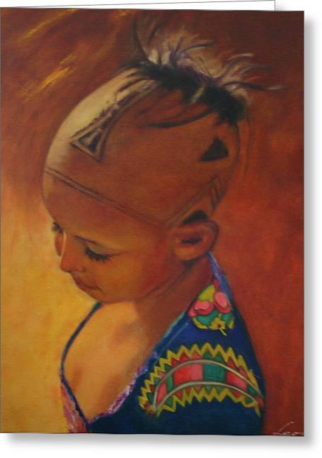 Birmanese Girl Greeting Card by Leonor Thornton