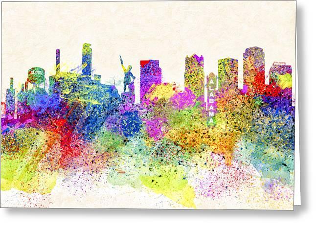 Birmingham Alabama Skyline Art Greeting Card