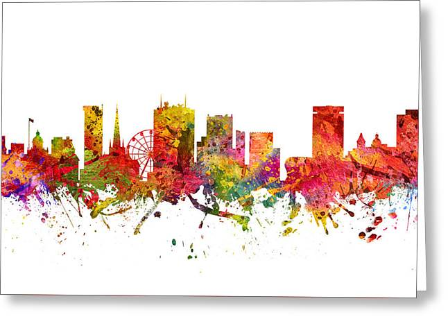 Birmingham Cityscape 08 Greeting Card by Aged Pixel