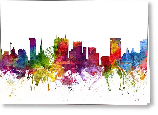 Birmingham England Cityscape 06 Greeting Card by Aged Pixel