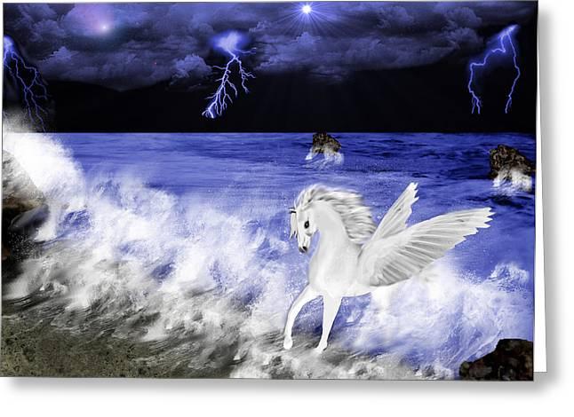 Birth Of Pegasus Greeting Card by Tanya Van Gorder