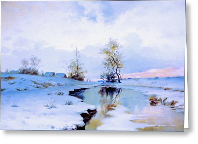 Birth Of Spring In The Snow Greeting Card
