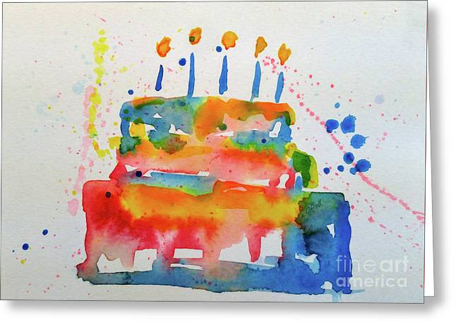 Greeting Card featuring the painting Birthday Blue Cake by Claire Bull