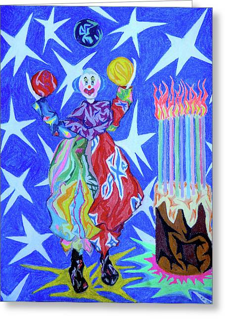 Outer Space Pastels Greeting Cards - Birthday Clown Greeting Card by Robert  SORENSEN