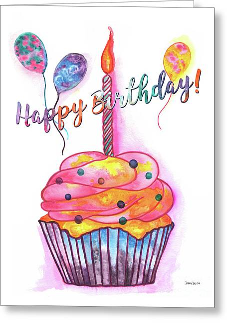 Birthday Cupcake Greeting Card by Debbie DeWitt