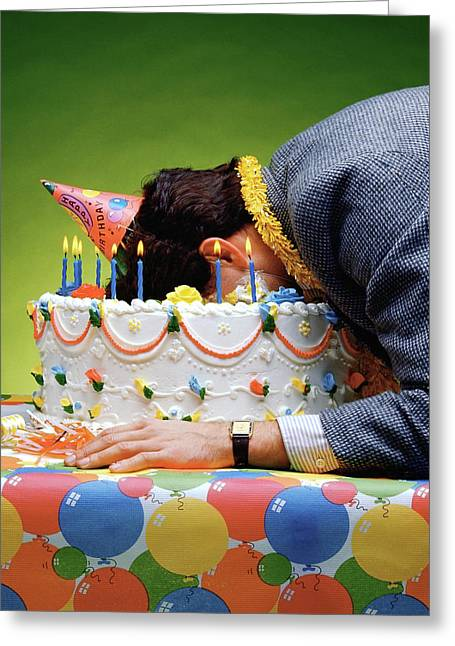 Birthday Depression - Man's Face Buried In A Birthday Cake Greeting Card