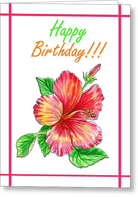 Birthday Hibiscus Greeting Card