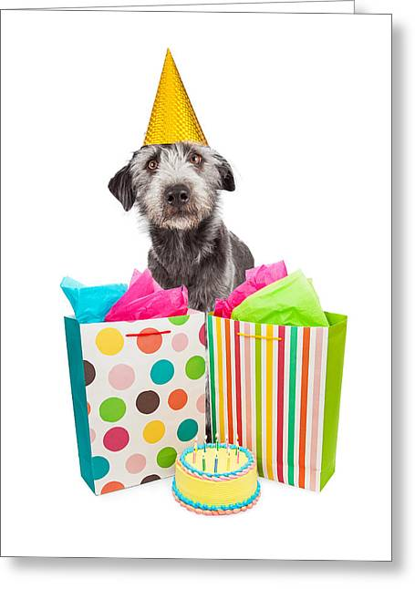 Birthday Party Dog Presents And Cake Greeting Card by Susan Schmitz
