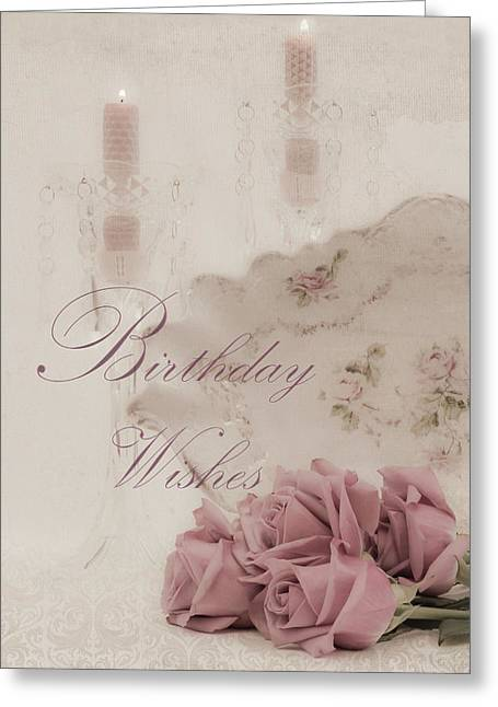 Birthday Wishes - Candles, Crystal And Roses Greeting Card by Sandra Foster