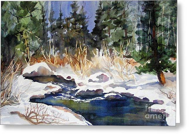Greeting Card featuring the painting Bishop Creek Winter by Pat Crowther