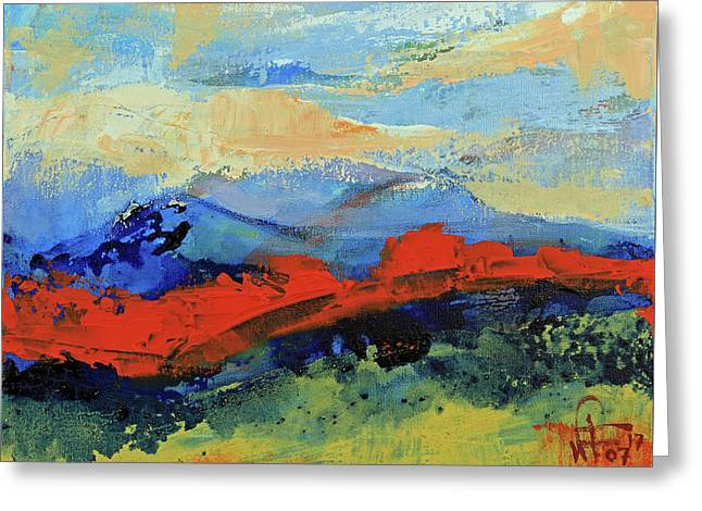 Greeting Card featuring the painting Bishop Mountains - Fall 2016 by Walter Fahmy