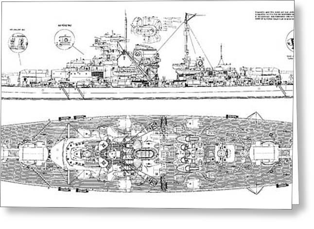 Bismarck - Part 01 Of The Ship Plans. Iconic World War II Battleship Of The Kriegsmarine Greeting Card