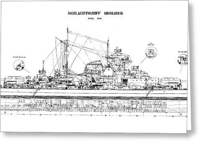 Bismarck - Part 02 Of The Ship Plans. Iconic World War II Battleship Of The Kriegsmarine Greeting Card