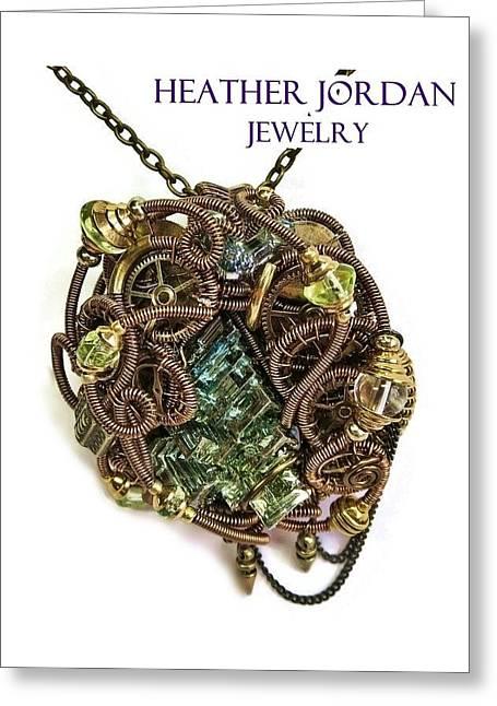 Bismuth Uranium Vaseline Glass Swarovski Crystal And Quartz Steampunk Pendant In Bronze Stmbsm39 Greeting Card by Heather Jordan