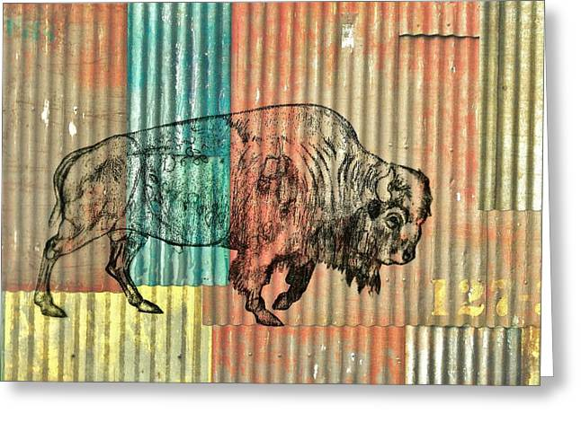 Greeting Card featuring the photograph Bison 127-3 by Larry Campbell
