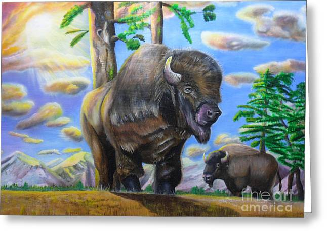 Greeting Card featuring the painting Bison Acrylic Painting by Thomas J Herring