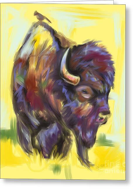 Bison And Bird Greeting Card by Go Van Kampen