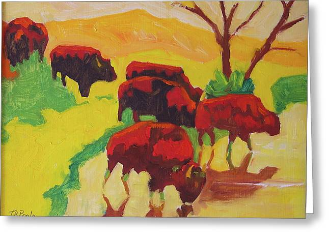 Bison Art Bison Crossing Stream Yellow Hill Painting Bertram Poole Greeting Card