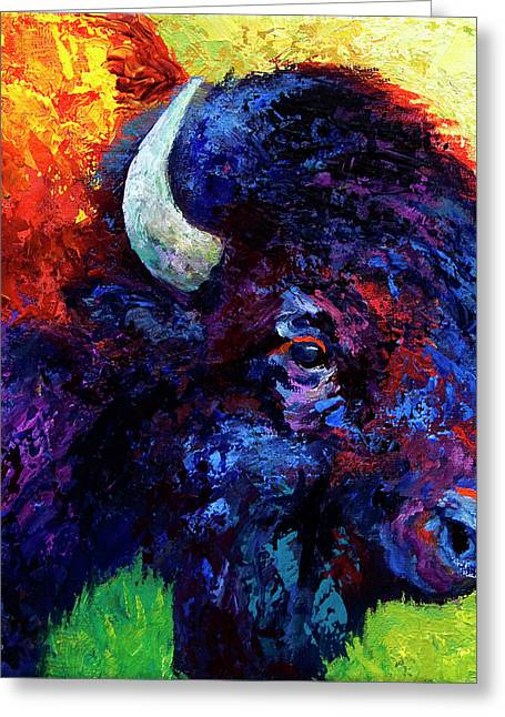 Bison Greeting Cards - Bison Head Color Study III Greeting Card by Marion Rose