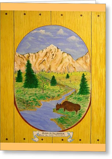 Bison In The Meadow Greeting Card