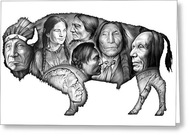 Bison Indian Montage Greeting Card by Greg Joens