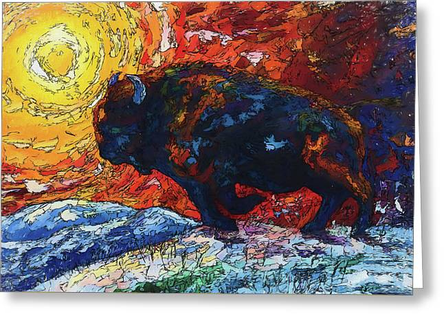 Bison Running Print Of Olena Art Wild The Storm Oil Painting With Palette Knife  Greeting Card