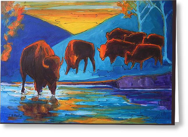 Bison Turquoise Hill Sunset Acrylic And Ink Painting Bertram Poole Greeting Card