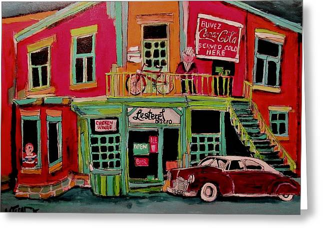 Bistro In Lachine On Notre Dame Greeting Card