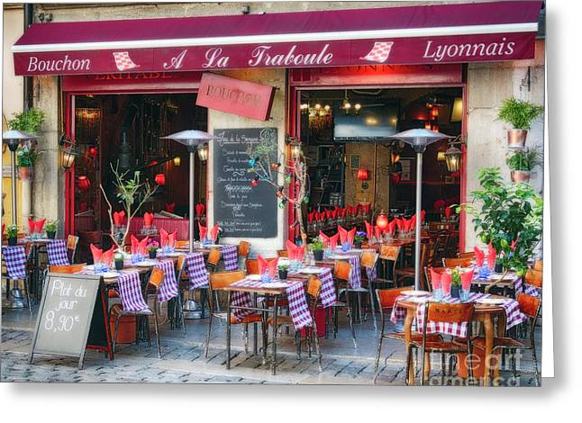 Bistro Open For Lunch Greeting Card by George Oze