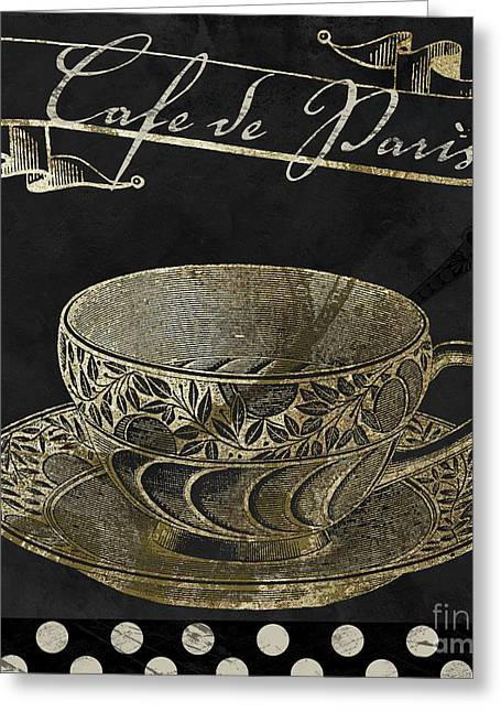 Bistro Parisienne Cafe De Paris Gold Greeting Card