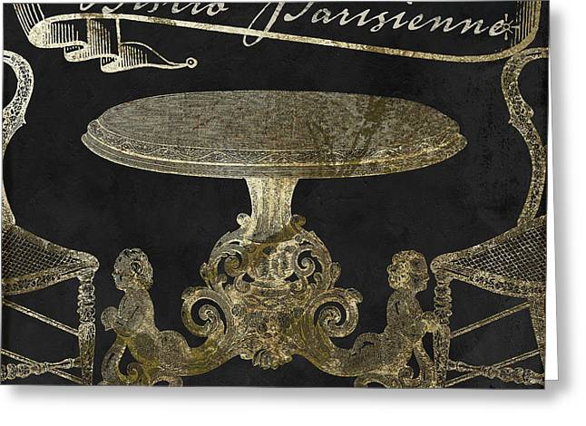 Bistro Parisienne Gold Greeting Card by Mindy Sommers