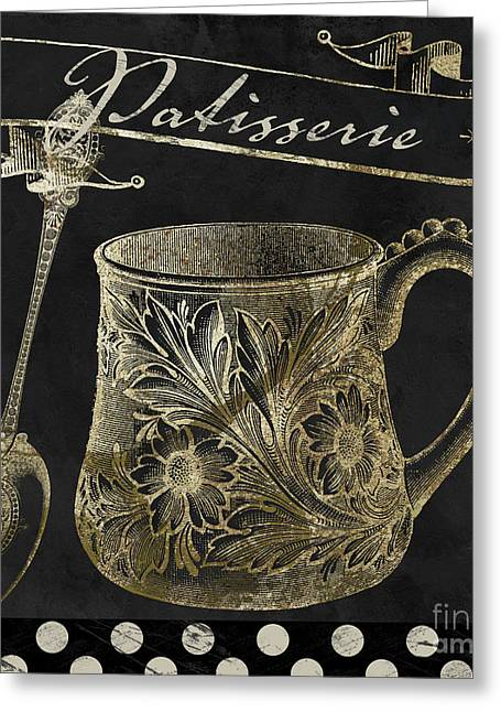Bistro Parisienne Patisserie Gold Greeting Card by Mindy Sommers