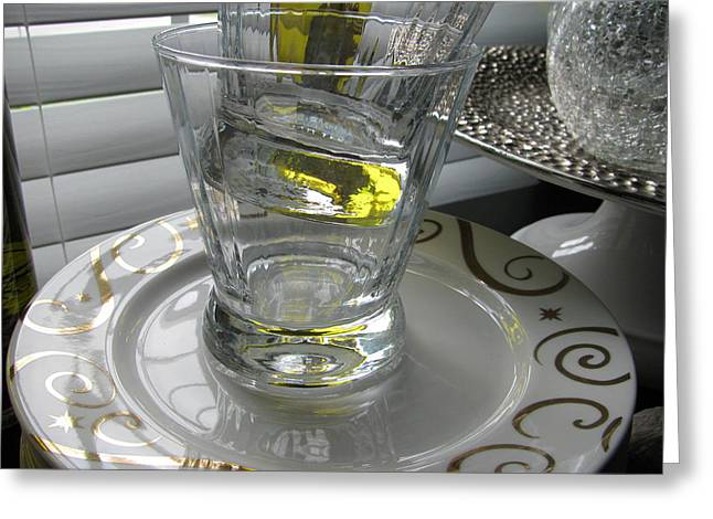 Greeting Card featuring the photograph Bistro Plates And Glasses by Lindie Racz